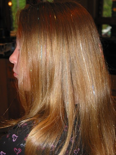 "Grace's beautiful hair, ""graced"" with Turquoise, 24K Gold and Ruby Slipper Red ShimmerZ."