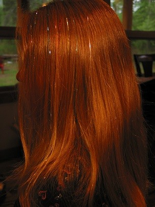 Platinum and Copper ShimmerZ. A head full of red, accented with Platinum and Copper ShimmerZ
